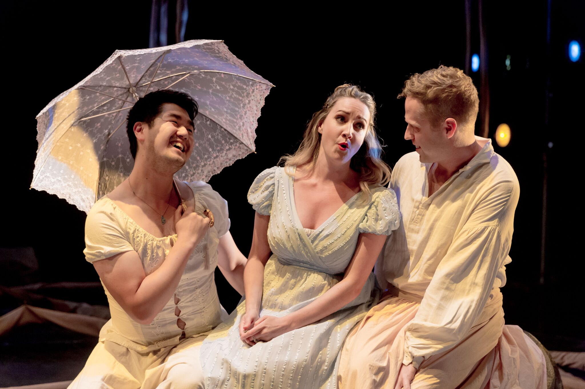 Left to right: William Liu (Chorus) and Rachel Fenlon as Galatea and CD Saint (Chorus); Photo by Diamond's Edge Photography