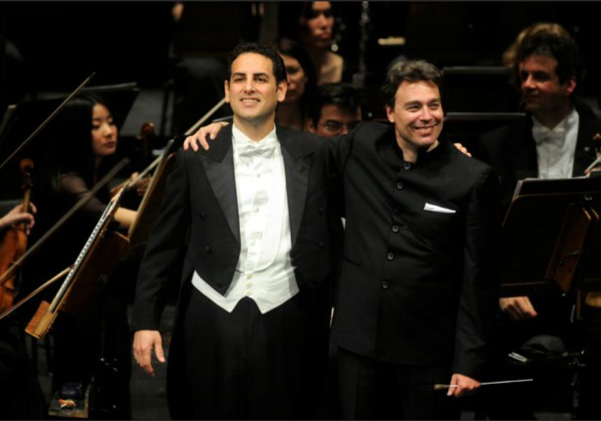 Abel (right) with Juan Diego Florez (left) at the Deutsche Oper Berlin in 2013