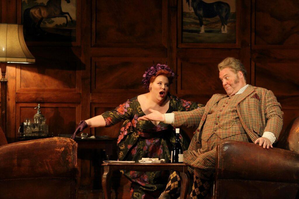 Marie-Nicole Lemieux (Mistress Quickly) and Bryn Terfel (Sir John Falstaff) in Royal Opera House's Falstaff. Photo: Catherine Ashmore