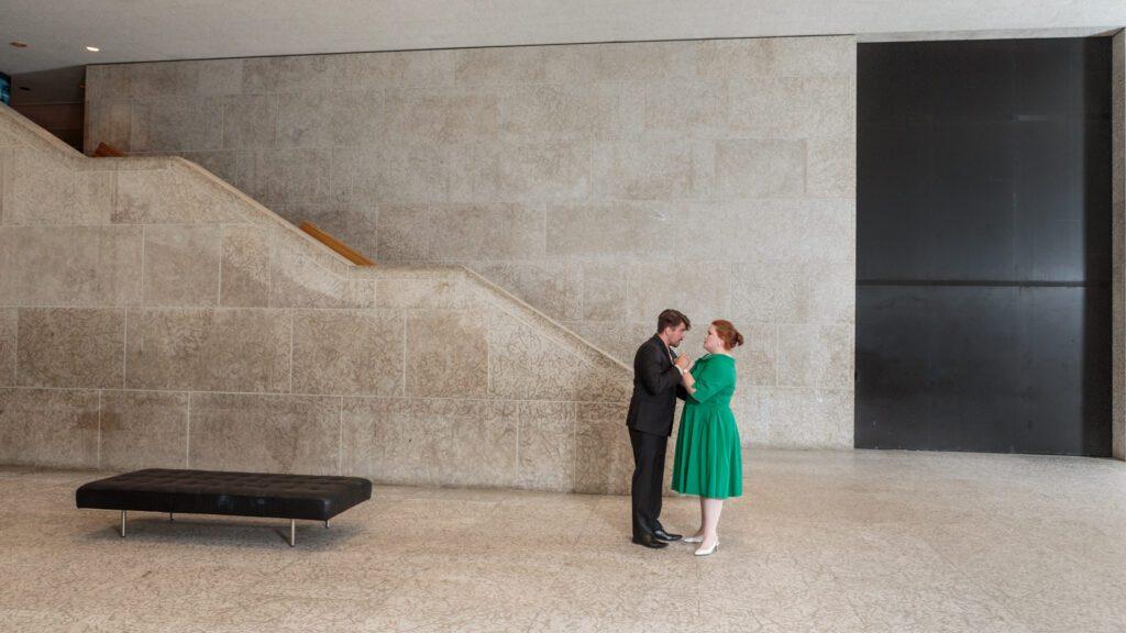 Adam Sperry (Don Ottavio) and Sydney Clarke (Donna Anna), in Manitoba Underground Opera's Don Giovanni. Photo: Paul McKeen