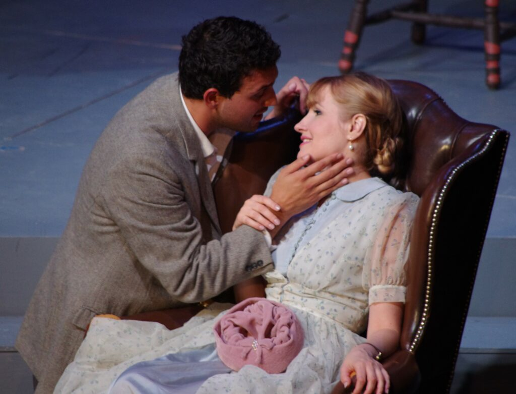 Rocco Rupolo (Rodolfo) and Natalya Gennadi (Mimi) in Highlands Opera Studio's La Bohème. Photo: John Martens