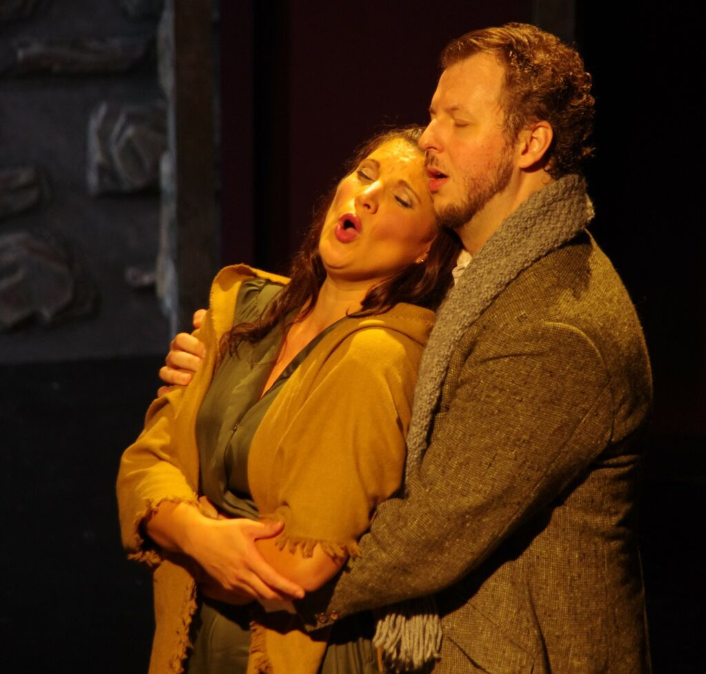 Sebastian Haboczki (Rodolfo) and Shantelle Przybylo (Mimi) in Highlands Opera Studio's La Bohème. Photo: John Martens