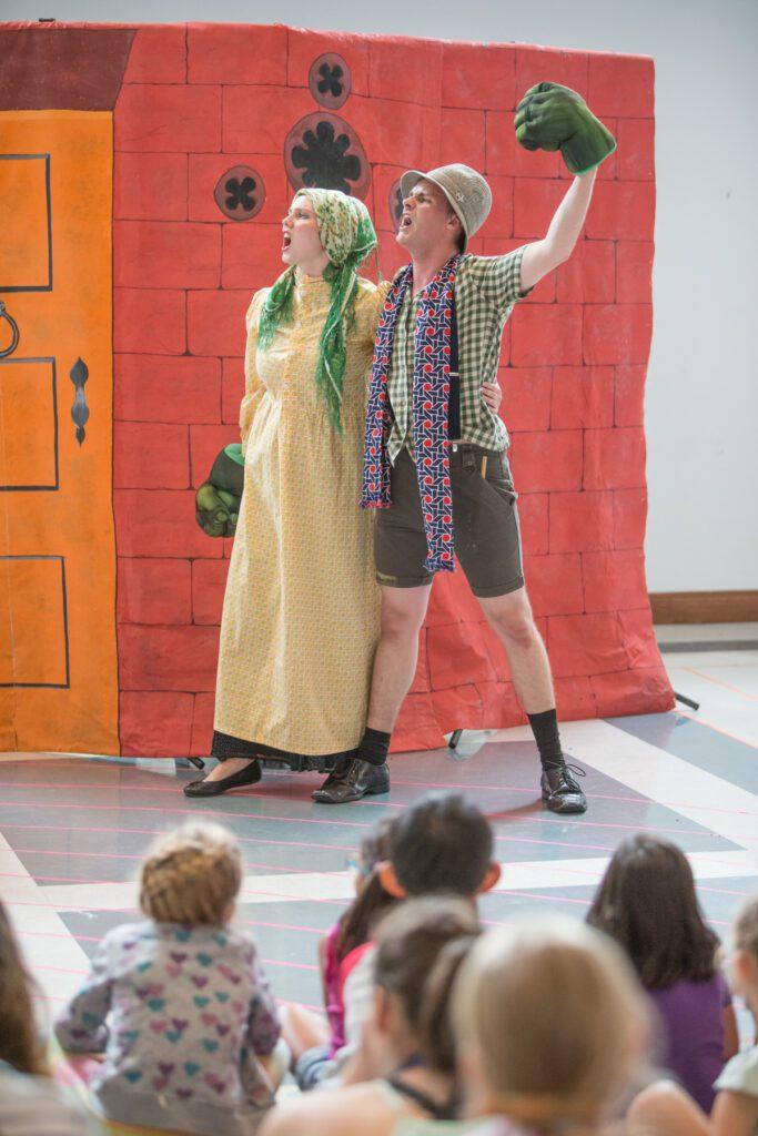 Marlise Ritchie (Mrs. Nimble), Nolan Kehler (Jack) in Manitoba Underground Opera's Jack and the Beanstalk. Photo: Paul McKeen