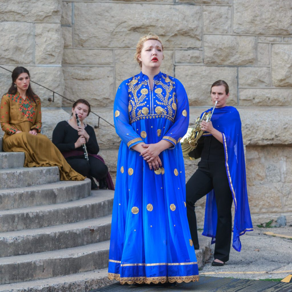 Nikita Silagy (Fortune), Meredith Liu (oboe) Emily Diehl-Reader (Ottavia), Caitlin Coppell (horn) in Manitoba Underground Opera's Poppea. Photo: Paul McKeen.