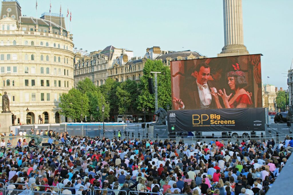 Live-stream to Trafalgar Square, London of Royal Opera House, Covent Garden's La rondine, July 2013. Photo: Roh/Simon Magill
