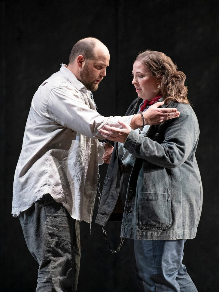 Brent Turner (Florestan) and Aviva Fortunata (Leonore/Fidelio) in Pacific Opera Victoria's Fidelio. Photo: Emily Cooper