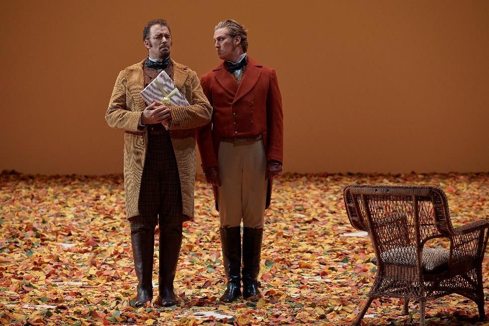 Gordon Bintner (Eugene Onegin) and Joseph Kaiser (Lensky) in Canadian Opera Company's Eugene Onegin. Photo: Michael Cooper.