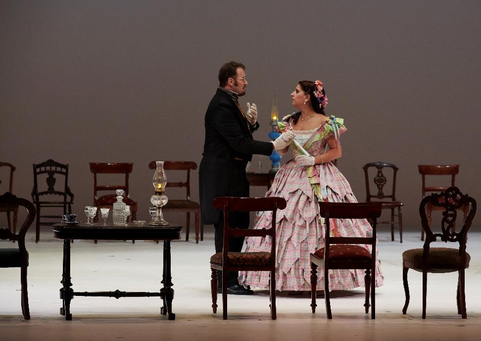 Joseph Kaiser (Lensky) and Varduhi Abrahamyan (Olga) in Canadian Opera Company's Eugene Onegin. Photo: Michael Cooper.