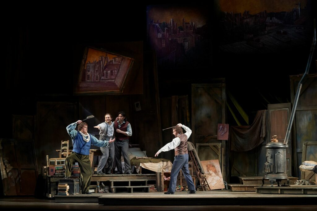 Joel Allison and cast in La Bohème