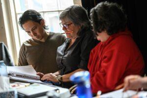 Yvette Nolan in rehearsal for Shanawdithit